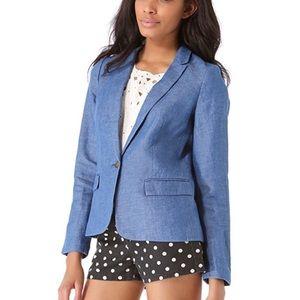 Madewell Chambray Linen Blend Single Button Blazer